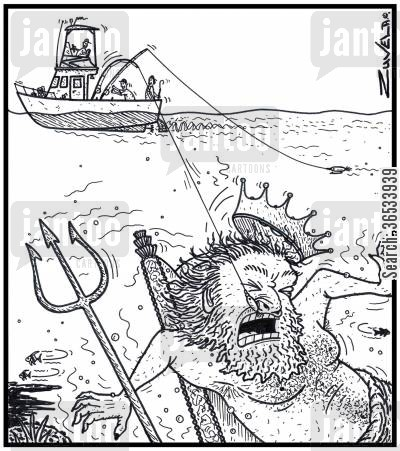 fate cartoon humor: Unaware Fishermen have just hooked King Neptune by the nose with one of their fishing lure lines.