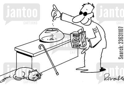 blind man cartoon humor: Blind man feeding an empty fish tank