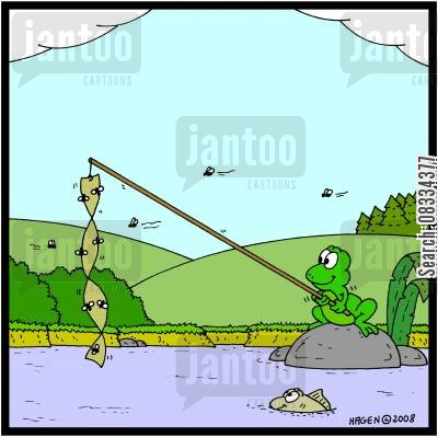 fly trap cartoon humor: Frog Fishing.