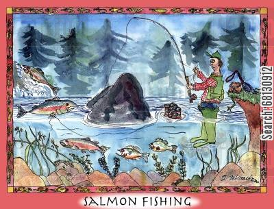 fishing for salmon cartoon humor: Salmon Fishing.
