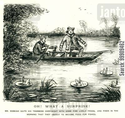 rowing boats cartoon humor: Man Fishing Is Supprised By The Strange Behaviour Of Frogs.