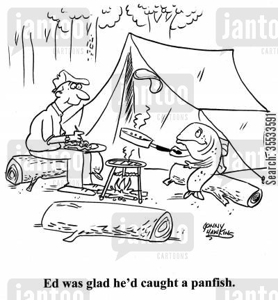 camping gear cartoon humor: Fish flipping flapjack in pan. Title: 'Ed was glad he'd caught a panfish.'