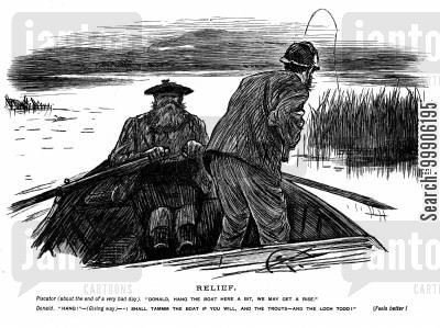 rowing boats cartoon humor: The end of a fishing trip.