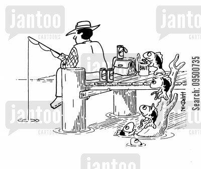 fishing baits cartoon humor: Fish are creeping up behind the fisherman to steal his bait.