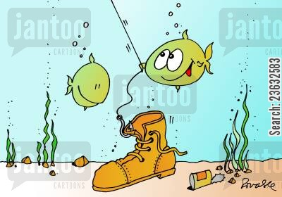old boot cartoon humor: Fishing.