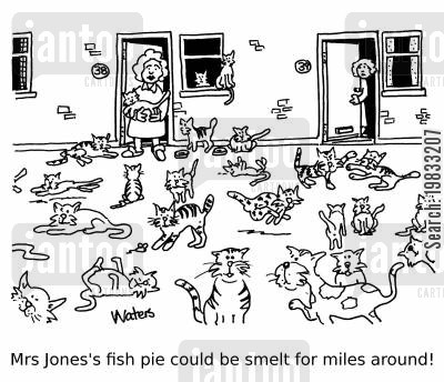 bad smells cartoon humor: Mrs Jones's fish pie could be smelt for miles around!