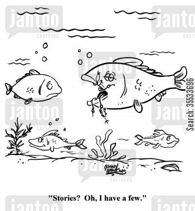 fish stories cartoon humor: 'Stories? I have a few.'