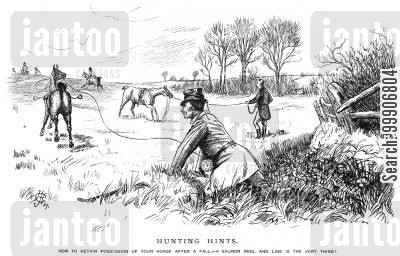 fishing wires cartoon humor: A man using a salmon reel to keep possession of his horse that he just fell off of