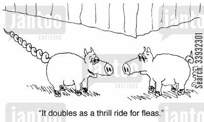fairground cartoon humor: 'It doubles as a thrill ride for fleas.'