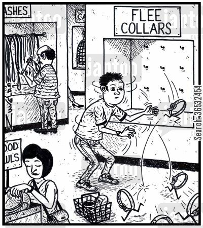 running away cartoon humor: Flee Collars.