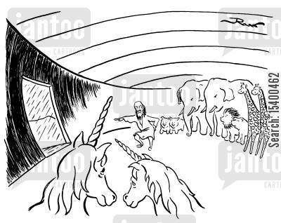 ark cartoon humor: Noah's Ark leaves pair of unicorns behind