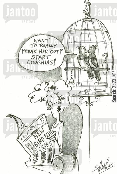cough cartoon humor: 'Want to really freak her out? Start coughing!'