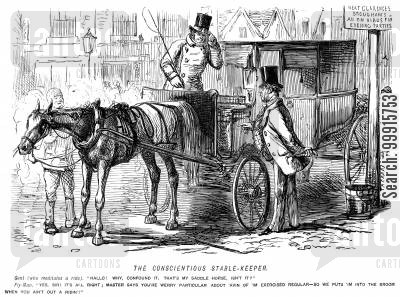 flyman cartoon humor: Gentleman recognises his own saddle horse being used to pull his carriage