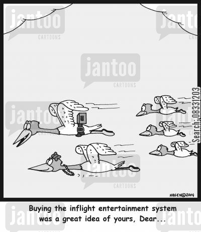 inflight cartoon humor: 'Buying the inflight entertainment system was a great idea of yours, Dear...'