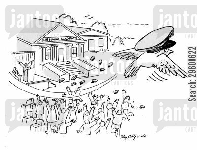 degrees cartoon humor: Bird flying over graduation ceremony.
