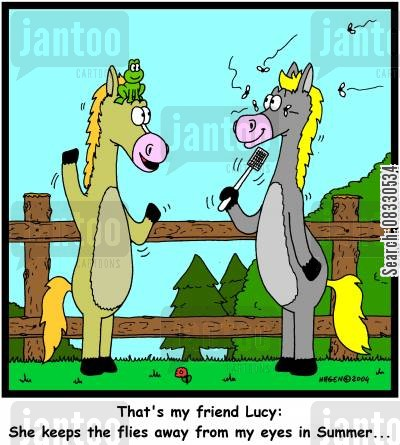 helpful friend cartoon humor: She keeps the flies away from my eyes in Summer.