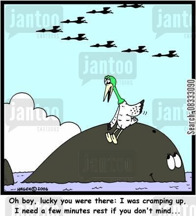 cramping up cartoon humor: 'Oh boy, lucky you were there: I was cramping up. I need a few minutes rest if you don't mind...'
