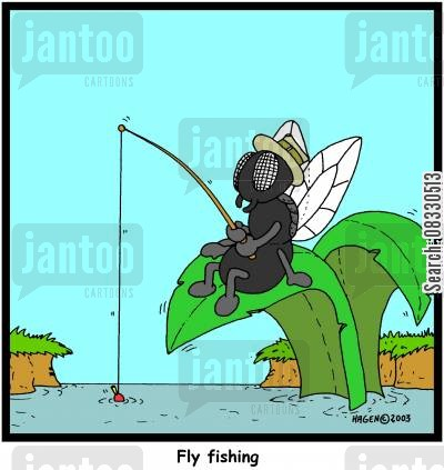 flyfishing cartoon humor: Fly fishing (colour)