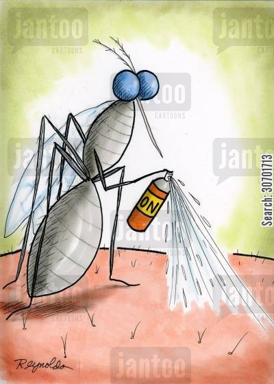 fly sprays cartoon humor: Fly spraying skin.