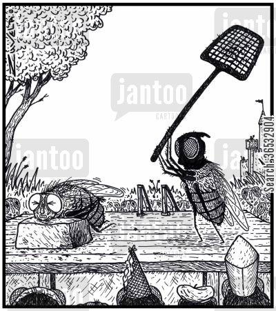 swatting flies cartoon humor: A fly about to be executed with a fly swatter in medieval times.
