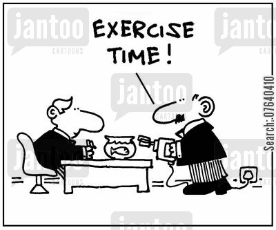 pet goldfish cartoon humor: 'Exercise time.'