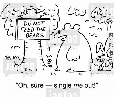 feed the bears cartoon humor: Do not feed the bears - 'Oh, sure -- single me out!'