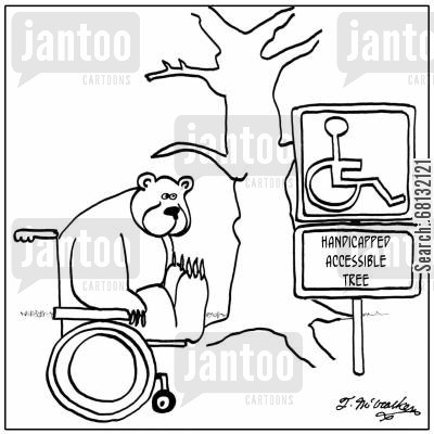 forest animals cartoon humor: Handicapped Accessible Tree.