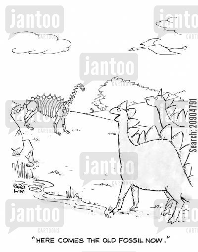 jurassic cartoon humor: 'Here comes the old fossil now.'