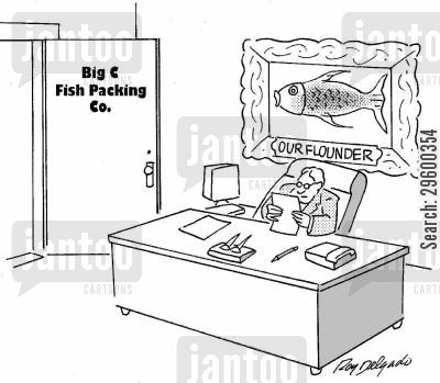 packing cartoon humor: Big Fish Packing Co - Our Flounder.