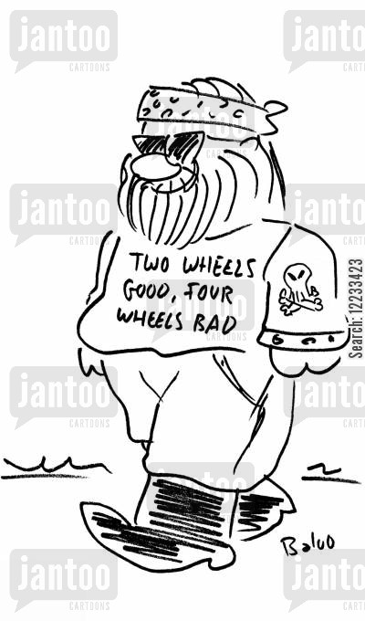 hells angels cartoon humor: Two wheels good, four wheels bad.