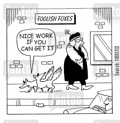 fur stoles cartoon humor: Nice work if you can get it.