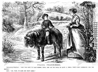 riding horses cartoon humor: Filial Frankness.