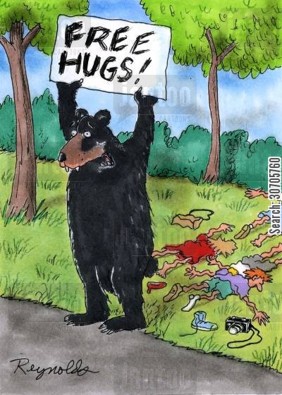 bear hugs cartoon humor: Free Hugs.