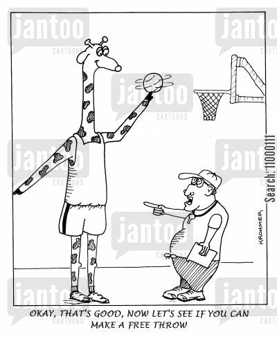 basketball team cartoon humor: ...Now lets see if you can make a free throw.