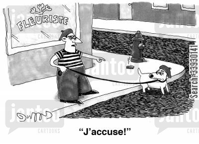 foreign language cartoon humor: 'J'accuse!'