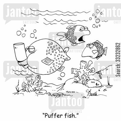 ocean cartoon humor: 'Puffer fish.'