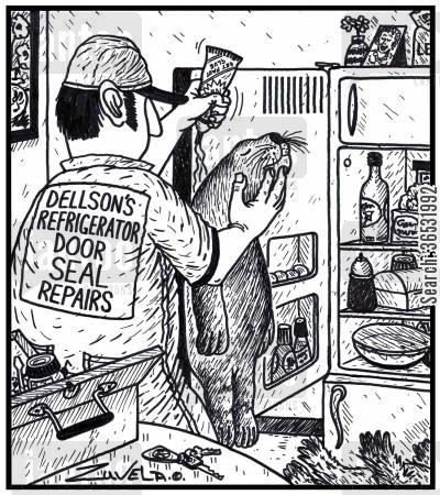 repair man cartoon humor: Dellson's refrigerator door seal repairs.