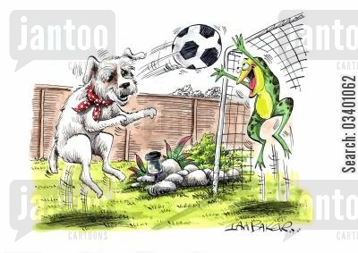 footballing cartoon humor: Dog and frog playing football.