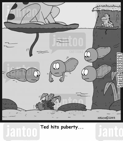 tadpoles cartoon humor: Ted hits puberty...