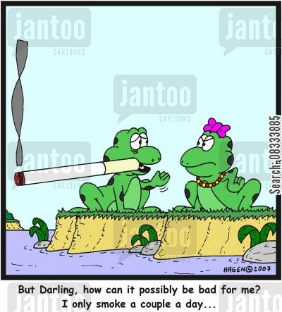 cigarettes cartoon humor: 'But Darling, how can it possibly be bad for me? I only smoke a couple a day...'