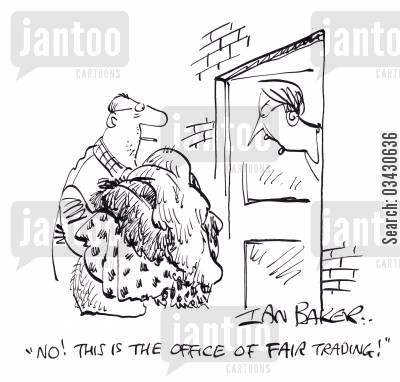 fair trading cartoon humor: 'No! This is the office of FAIR trading!'
