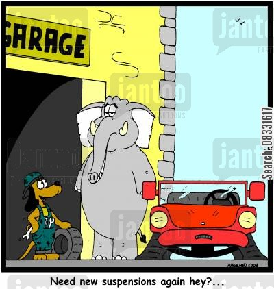 broken suspension cartoon humor: 'Need new suspensions again hey?...'