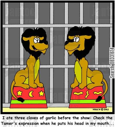 lion trainers cartoon humor: 'I ate three cloves of garlic before the show: Check the Tamer's expression when he puts his head in my mouth...'