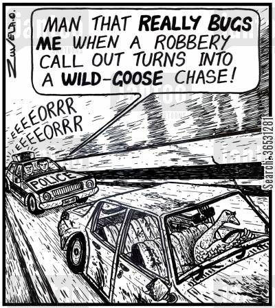 police chase cartoon humor: 'Man that REALLY BUGS ME when a robbery call out turns into a WILD-GOOSE chase!' (Police chasing a goose driving a car).
