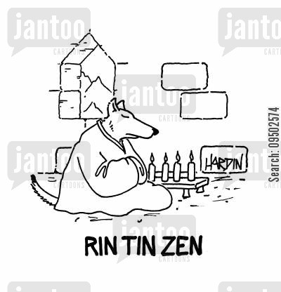 alsatians cartoon humor: Rin Tin Zen.