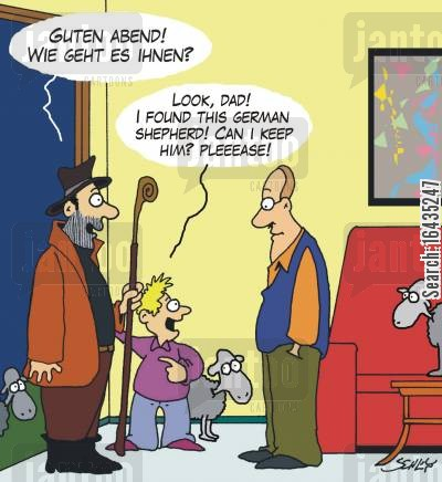 alsatians cartoon humor: 'Look, Dad! I found this German shepherd!'