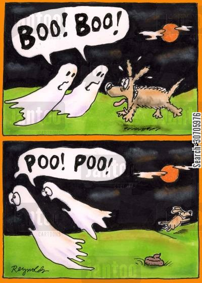 poltergeist cartoon humor: Ghosts and a dog.