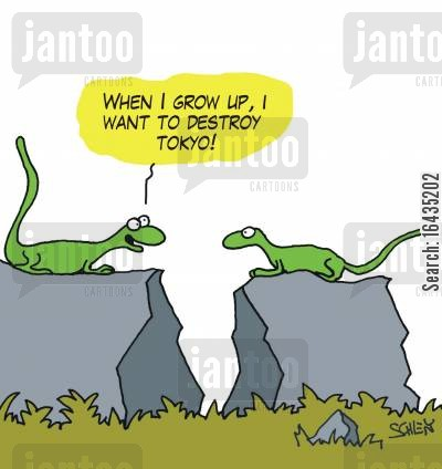 giant lizards cartoon humor: 'When I grow up, I want to destroy Tokyo!'