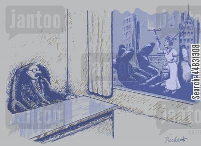cleaning windows cartoon humor: A man sitting in his office looking out of window to see a woman washing windows with the help of a giant monkey..