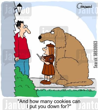 cookies cartoon humor: 'And how many cookies can I put you down for?'